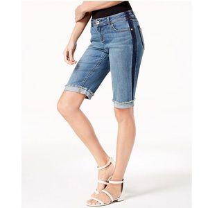 I.N.C. Contrast Trim Cuffed Denim Shorts
